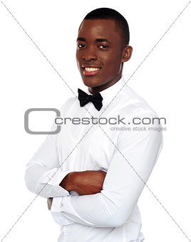 African gentleman posing with crossed arms