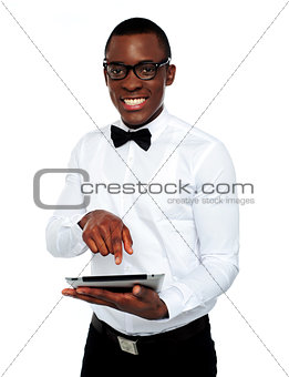 Smart boy using touch screen device