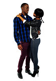 Attractive african couple hugging