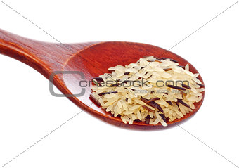 rice blend in wooden spoon