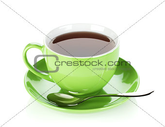 Green tea cup with spoon