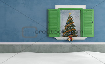 Blue old  house with christmas decoration