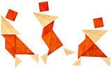 tangram dancer or martial fighter