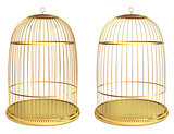 Golden birdcage isolated on white