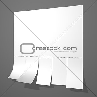 Blank advertisement with cut slips on gray wall