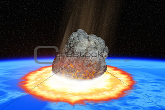 Total destruction of the world - collision of an asteroid with the Earth