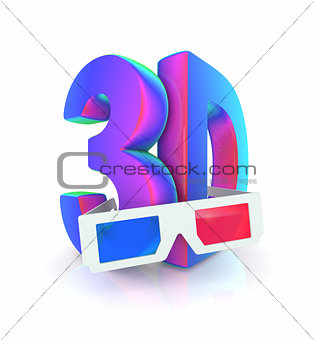 "3D glasses with words that say ""3D"""