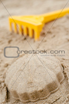 Closeup of shell made of sand