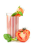 Fresh tomato juice with basil
