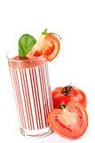 Fresh tomato juice with basil