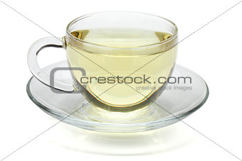 Green tea in glass cup