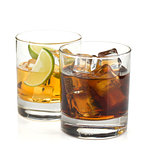 Whiskey and cola cocktails
