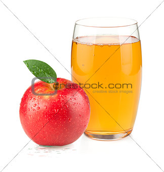 Apple juice in a glass and red apple