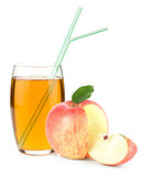 Apple juice in a glass and apple