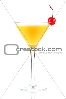 Alcohol cocktail with orange juice and maraschino