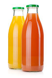 Orange and grapefruit juice bottles