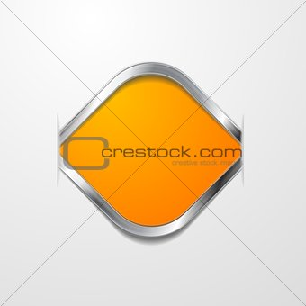 Abstract vector shape with silver frame