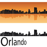 Orlando skyline in orange background