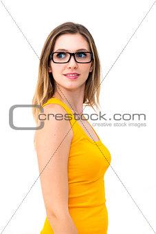 beautiful business woman wearing glasses