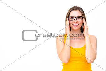 beautiful business woman wearing glasses