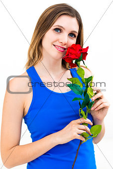 beautiful sexy blond woman with red rose