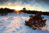 sunbeams at sunset over snowy hills
