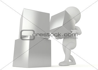 3d humanoid character hold a cube