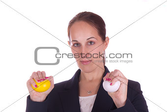 Business woman with stress balls