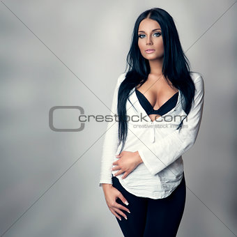 attractive brunette in white