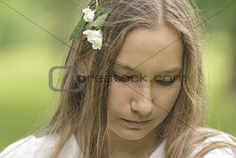 cute teenager looking down