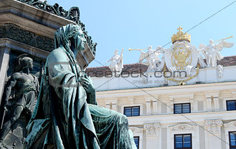 Detail of the monument to Kaiser Franz I against the Hofburg in