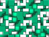 Background of green and white cubes