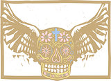 Color Mexican Winged Skull