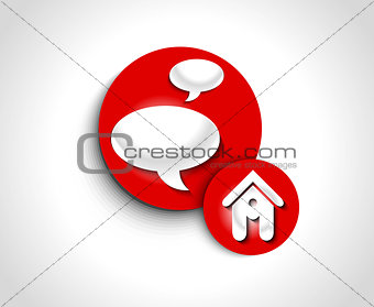 abstract glossy speech and home icon