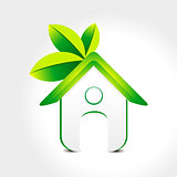 abstract green home icon with leaf