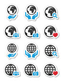 Globe earth with hands vector icons set