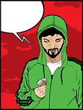 Drug addict comic style