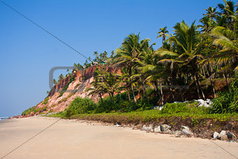 Varkala Beach, with views of the coast to the cliff