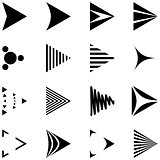 Set of Simple Black and White Arrows Icons.