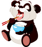 Cute panda eating rice