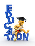 Man on text education. 3d