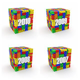 New year 2010, 2009, 2008, 2007.