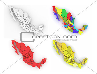 Three-dimensional map of Mexico on white isolated background