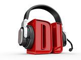 Text DJ and handphones. 3d