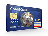 Credit card with steel security lock