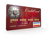 Credit card with steel security lock on white background