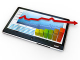 Tablet pc and business graph on the screen