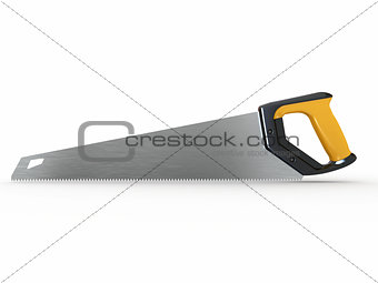 Three-dimensional handsaw on whitebackground