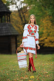 Young woman in Ukrainian style clothing