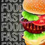 Hamburger with meat, vector Eps10 illustration.